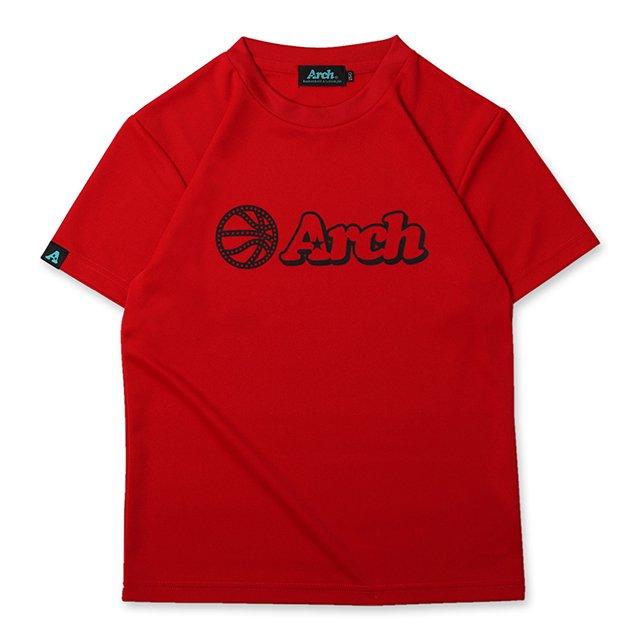 バスケ アーチ ボール ロゴ Tシャツ キッズ リッチレッド ブラック