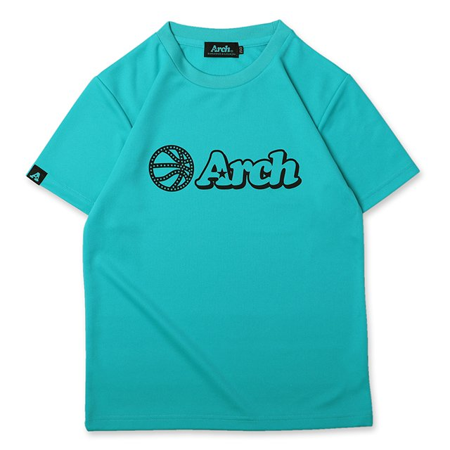 バスケ アーチ ボール ロゴ Tシャツ キッズ ミントブルー ブラック