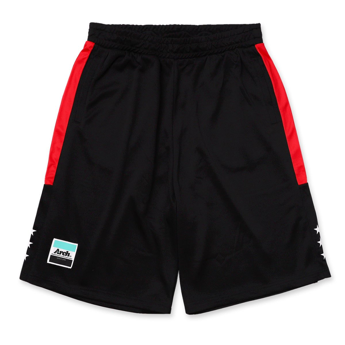 side bar shorts【black/red】