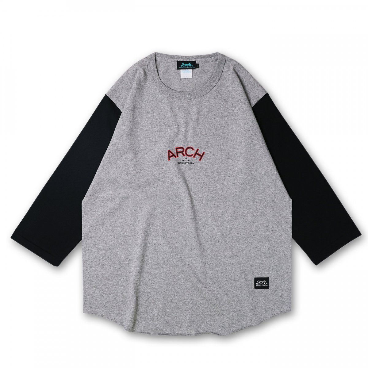 three star H/S tee【gray/black】