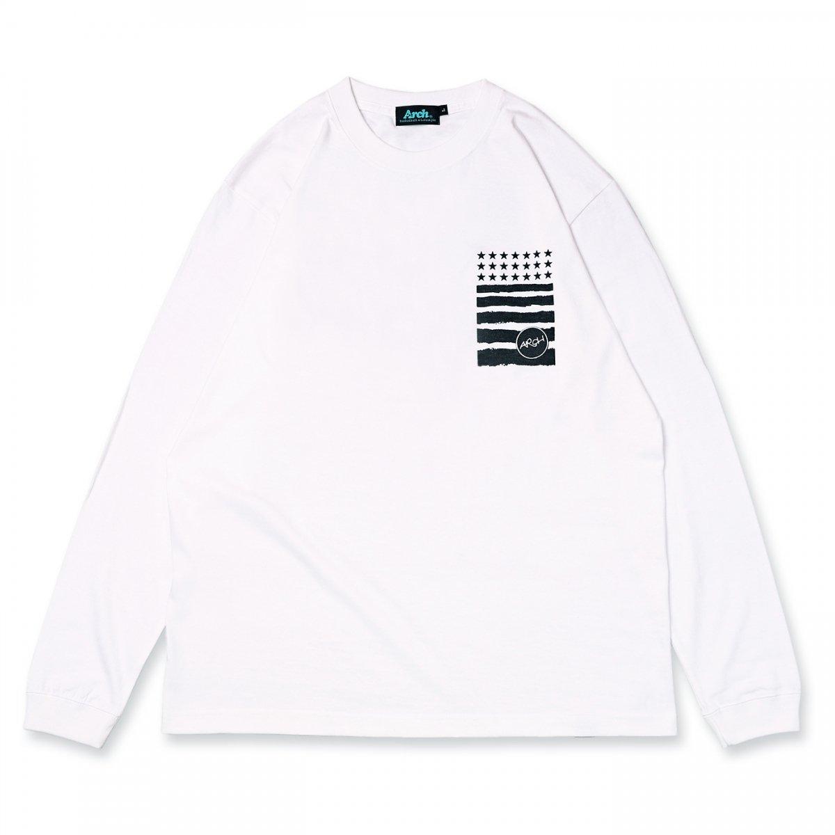 バスケ アーチ レタードロゴ ロングスリーブTシャツ ホワイト