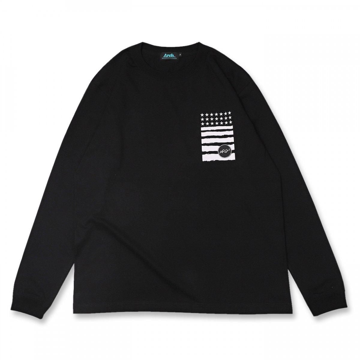 バスケ アーチ レタードロゴ ロングスリーブTシャツ ブラック