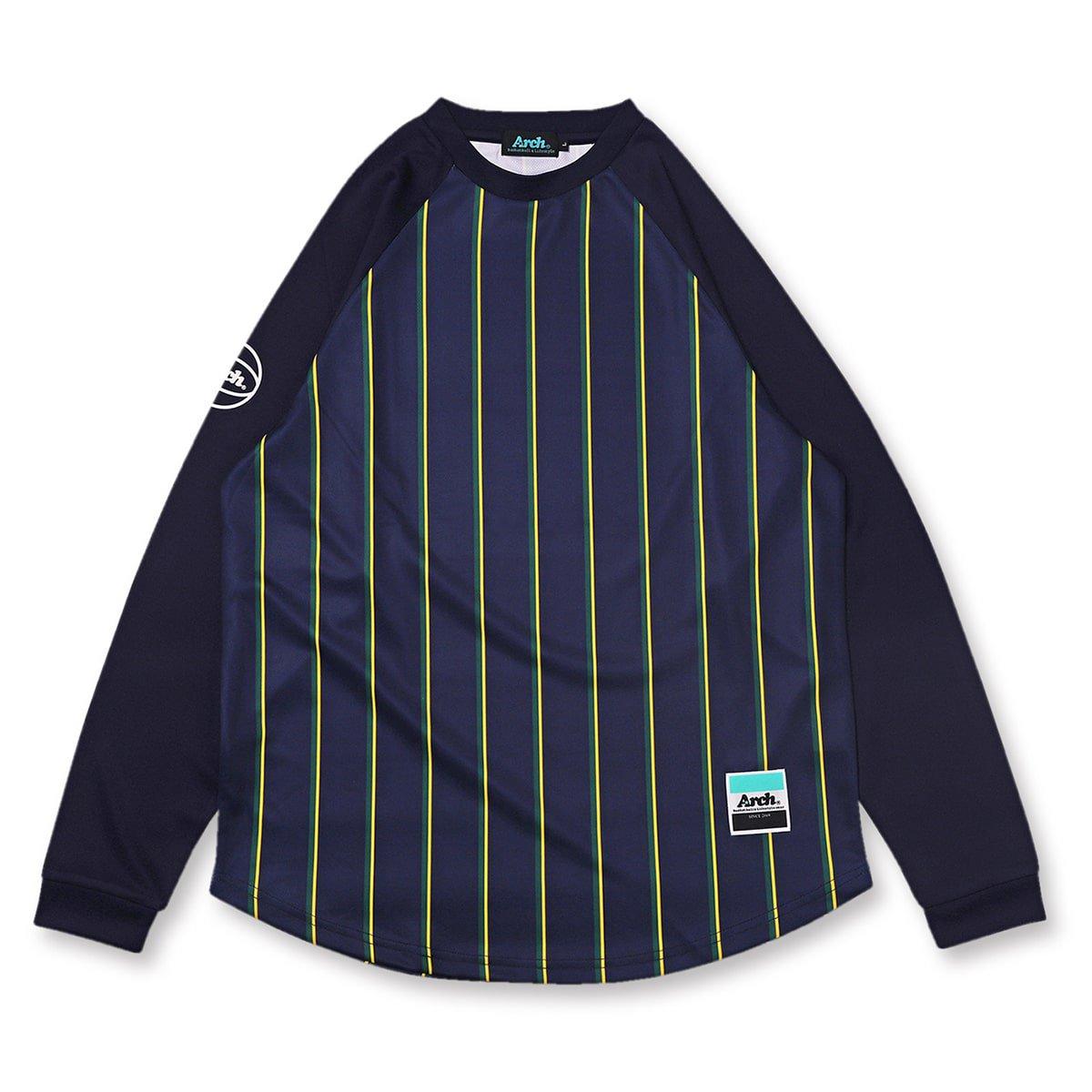 trad stripe L/S tee [DRY]【navy】