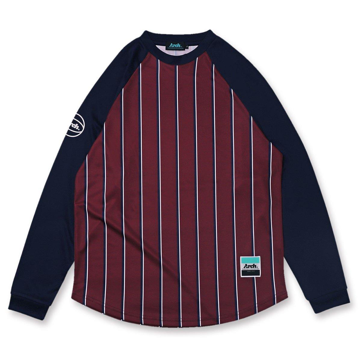 trad stripe L/S tee [DRY]【burgundy】