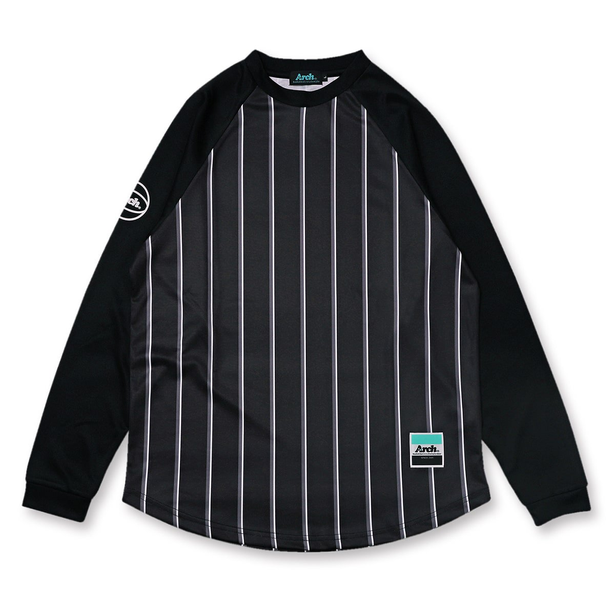 trad stripe L/S tee [DRY]【black】