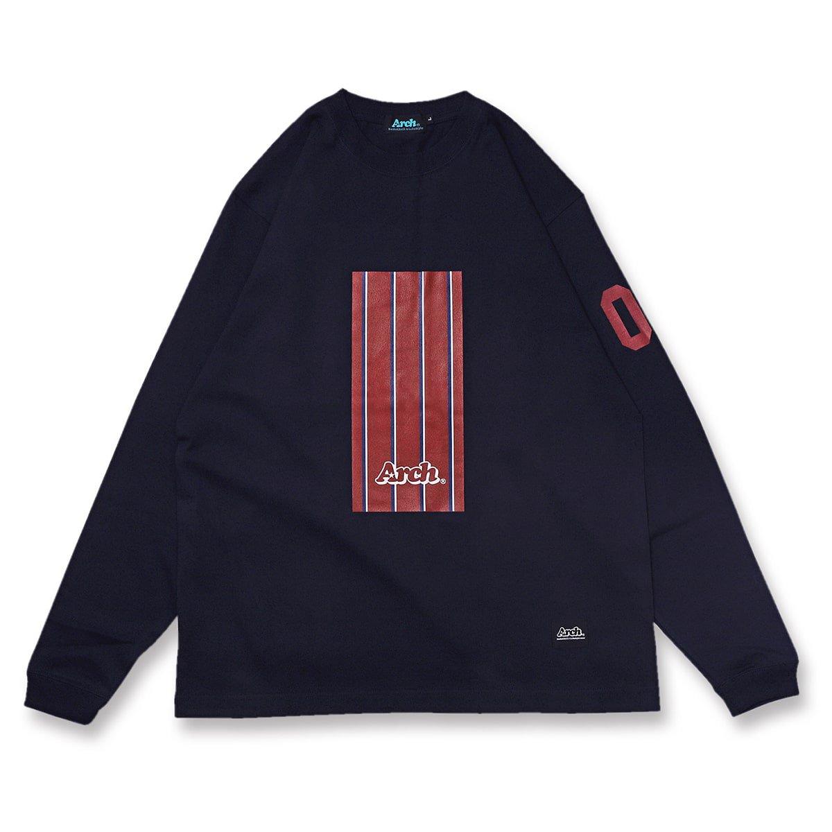 trad stripe box L/S tee【navy】