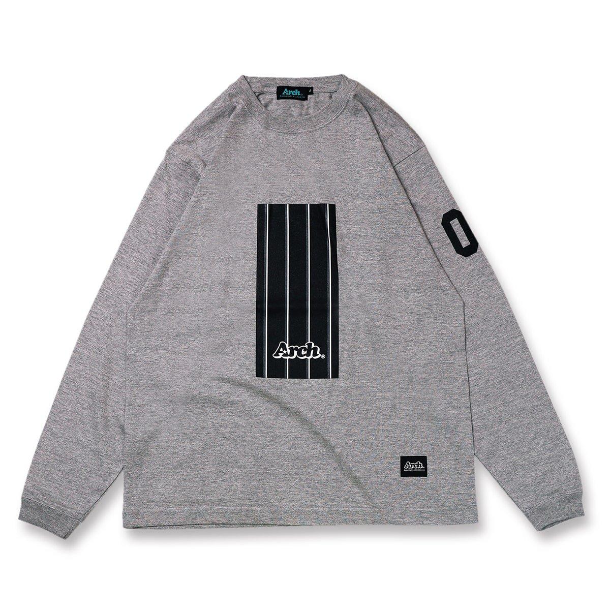 trad stripe box L/S tee【gray】