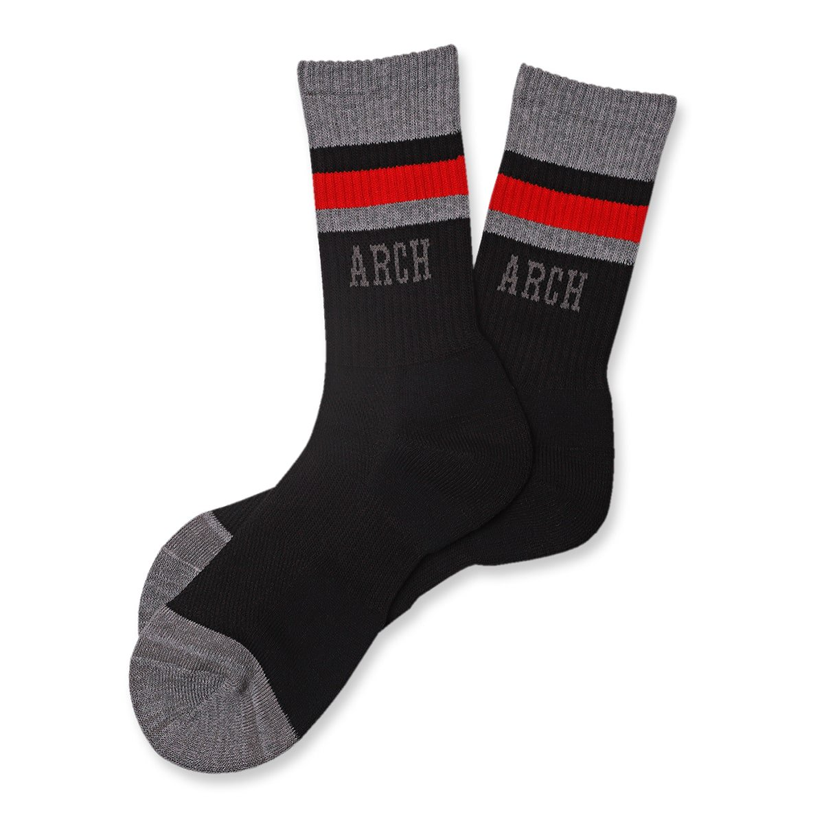 TL sport crew mid. socks【black/heather gray】