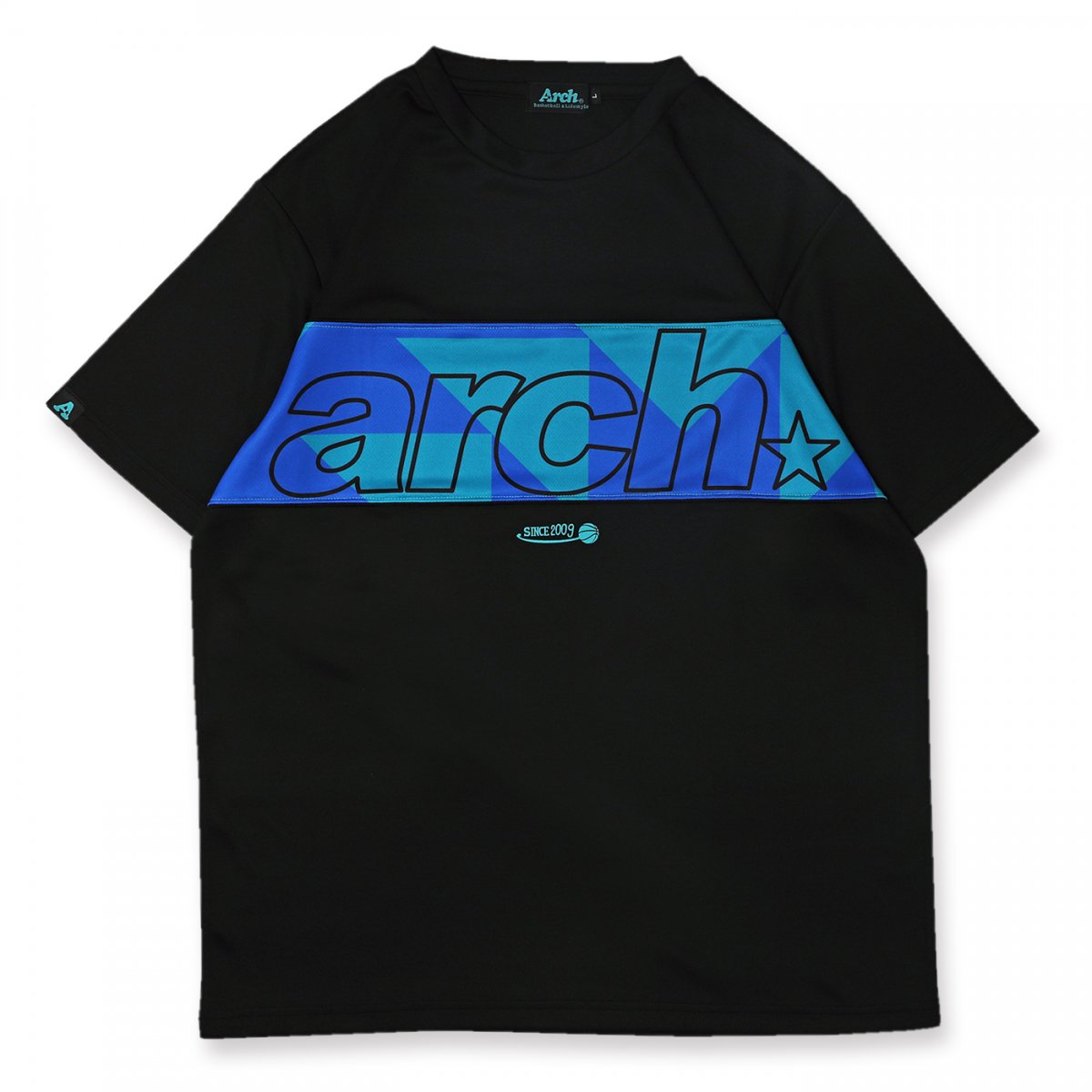 sporty logo tee [DRY]【black/turquoise】