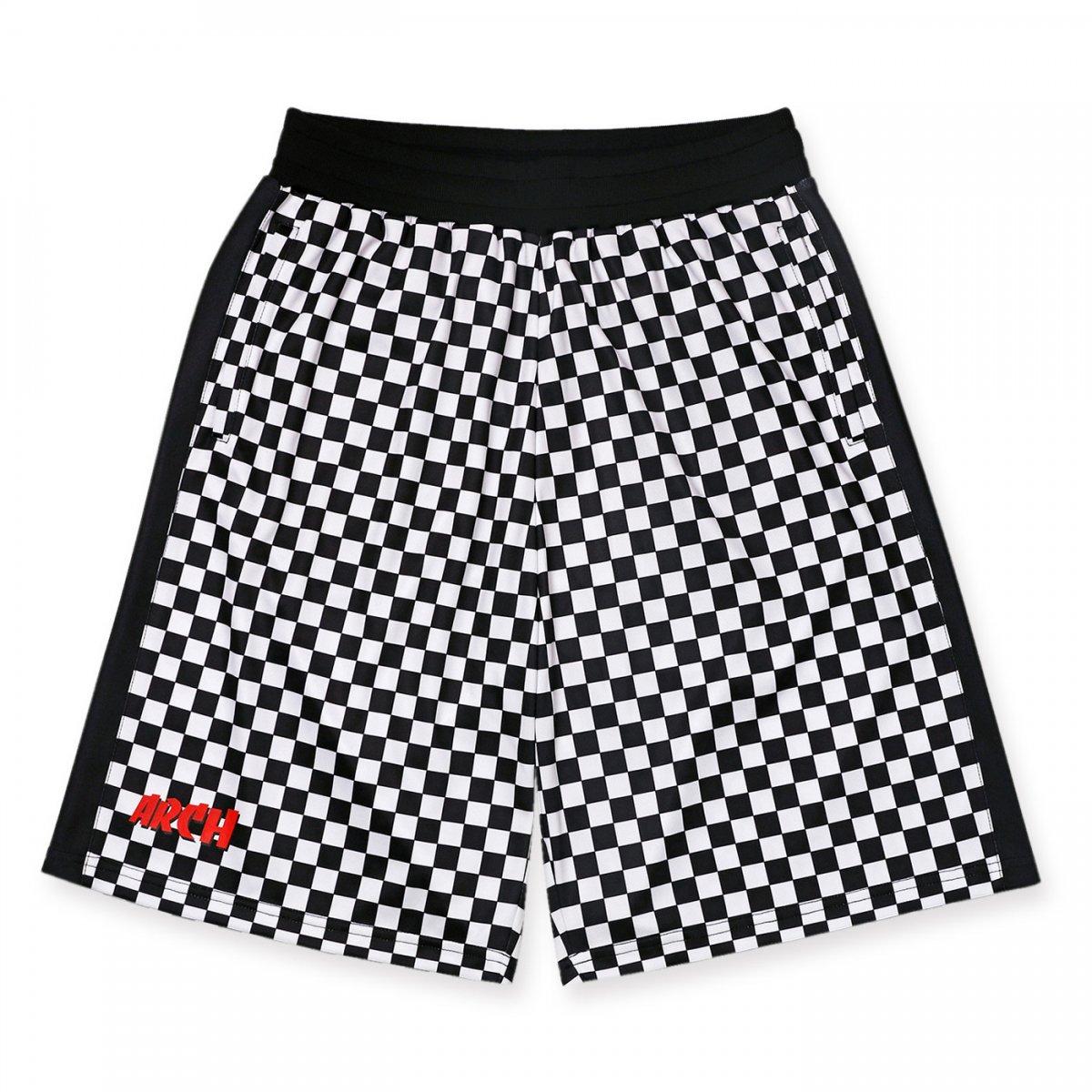 team checker shorts【black/white】