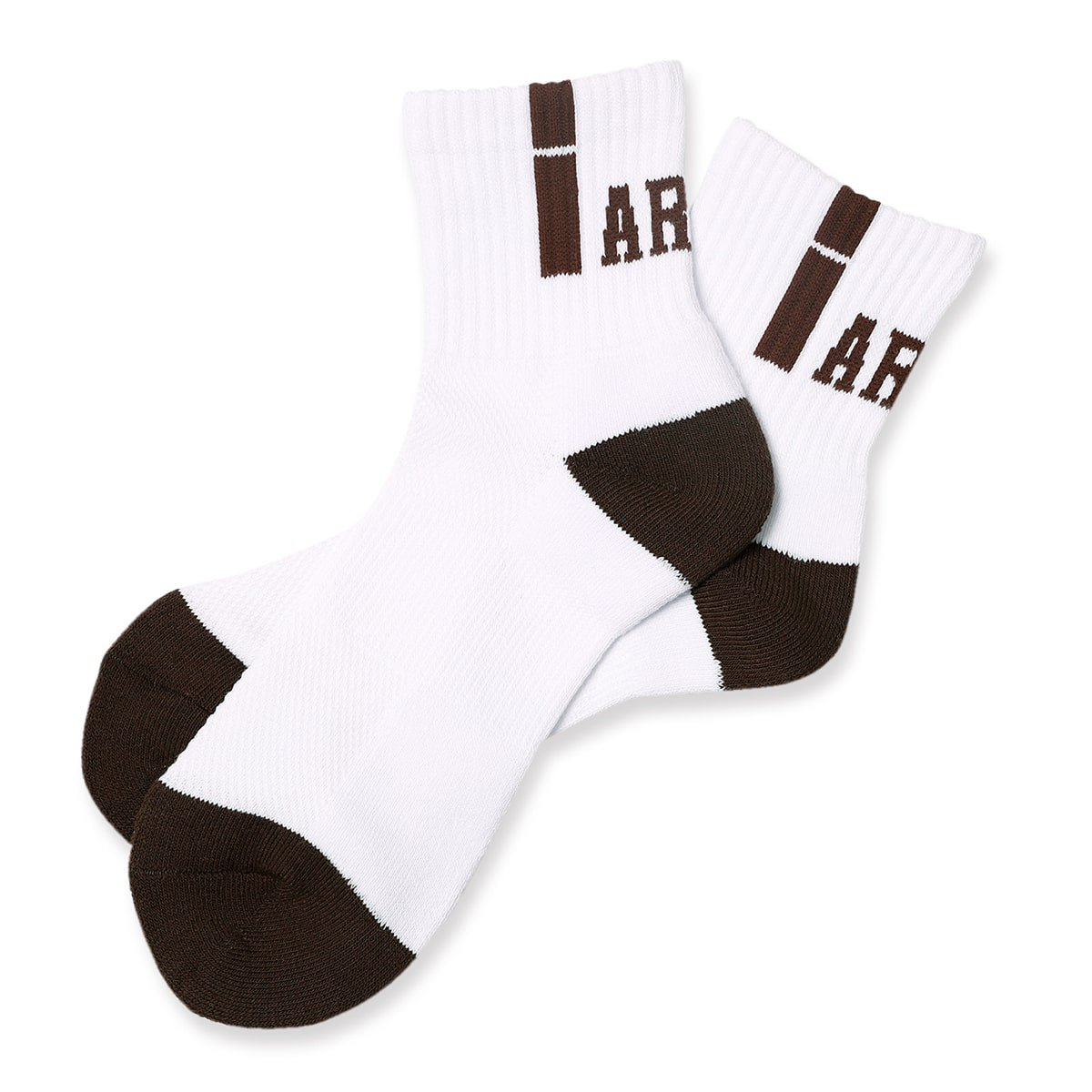 vertical crew socks【white/brown】