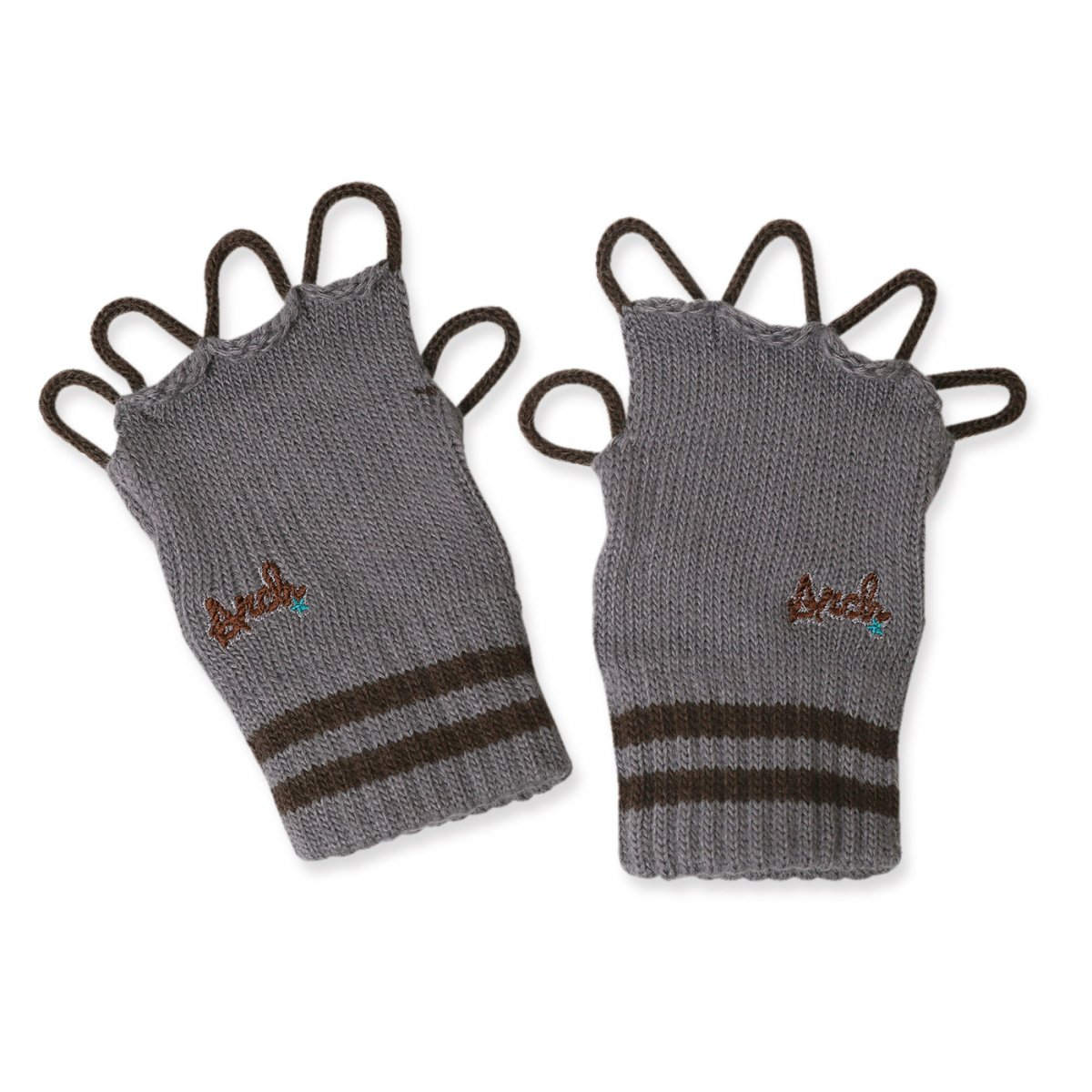 line crew glove【gray/brown】