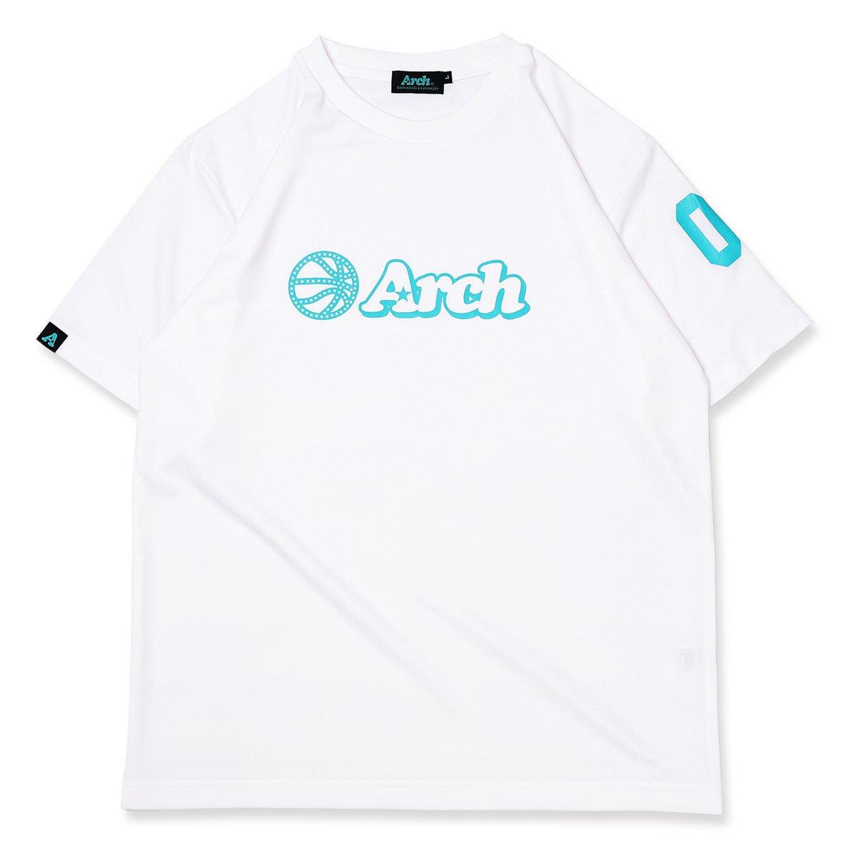 バスケ アーチ ボール ロゴ Tシャツ ホワイトターコイズ
