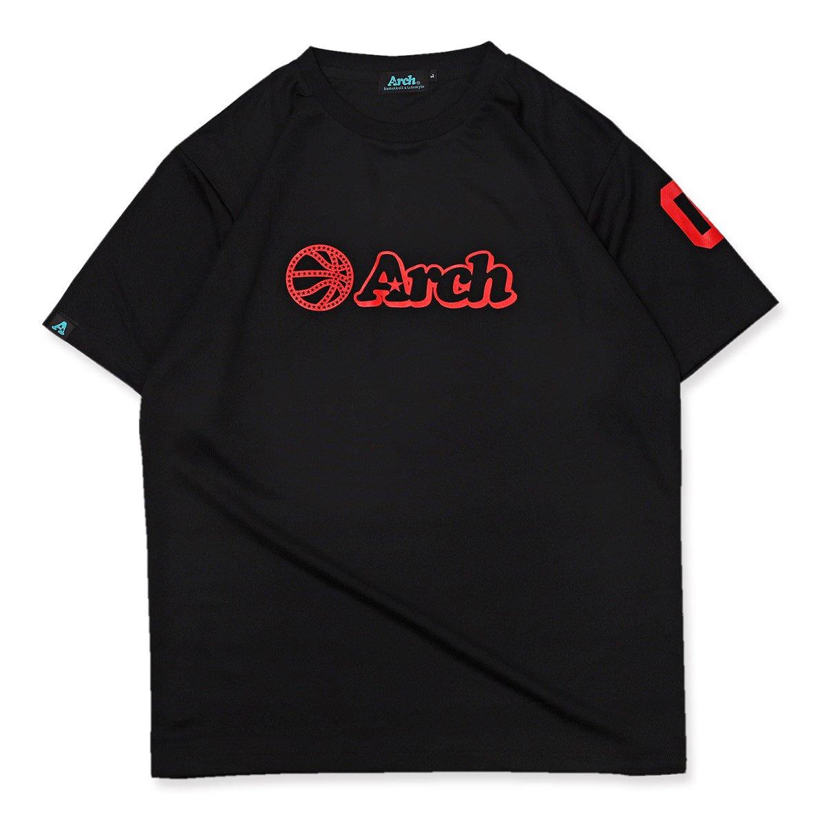 バスケ アーチ ボール ロゴ Tシャツ ブラックレッド ブラック