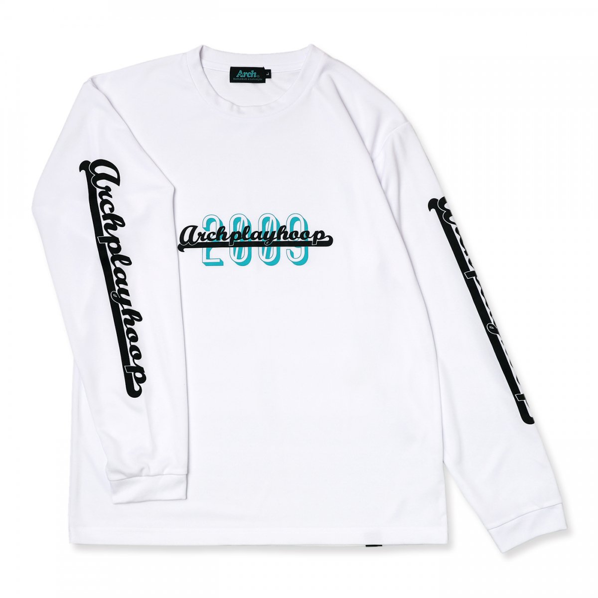 playhoop L/S tee [DRY]【white】