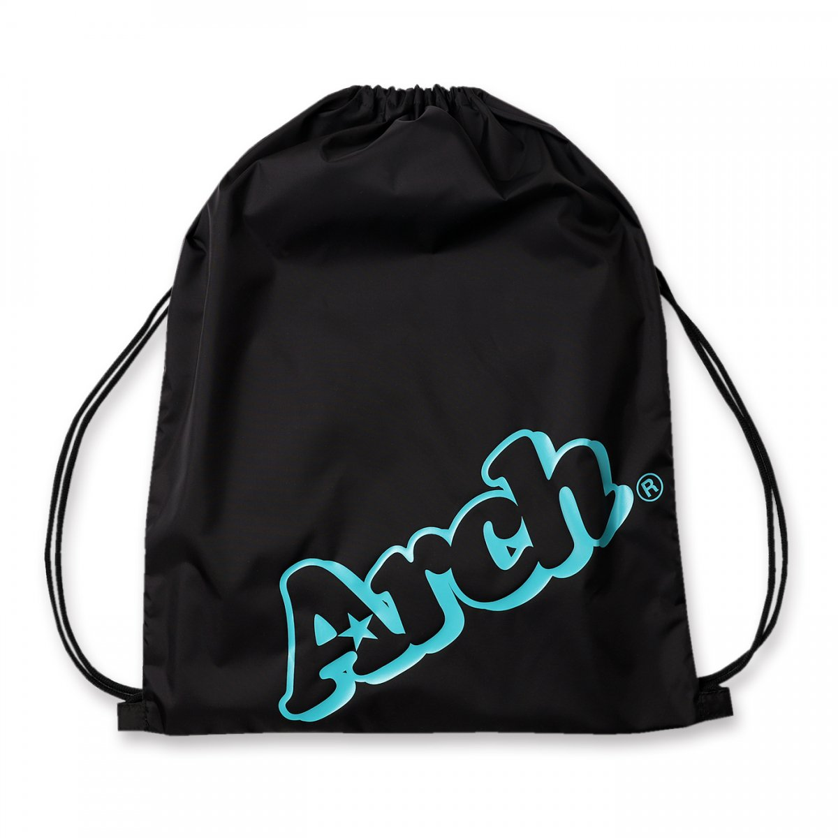 sloping logo gym sack【black/turquoise】