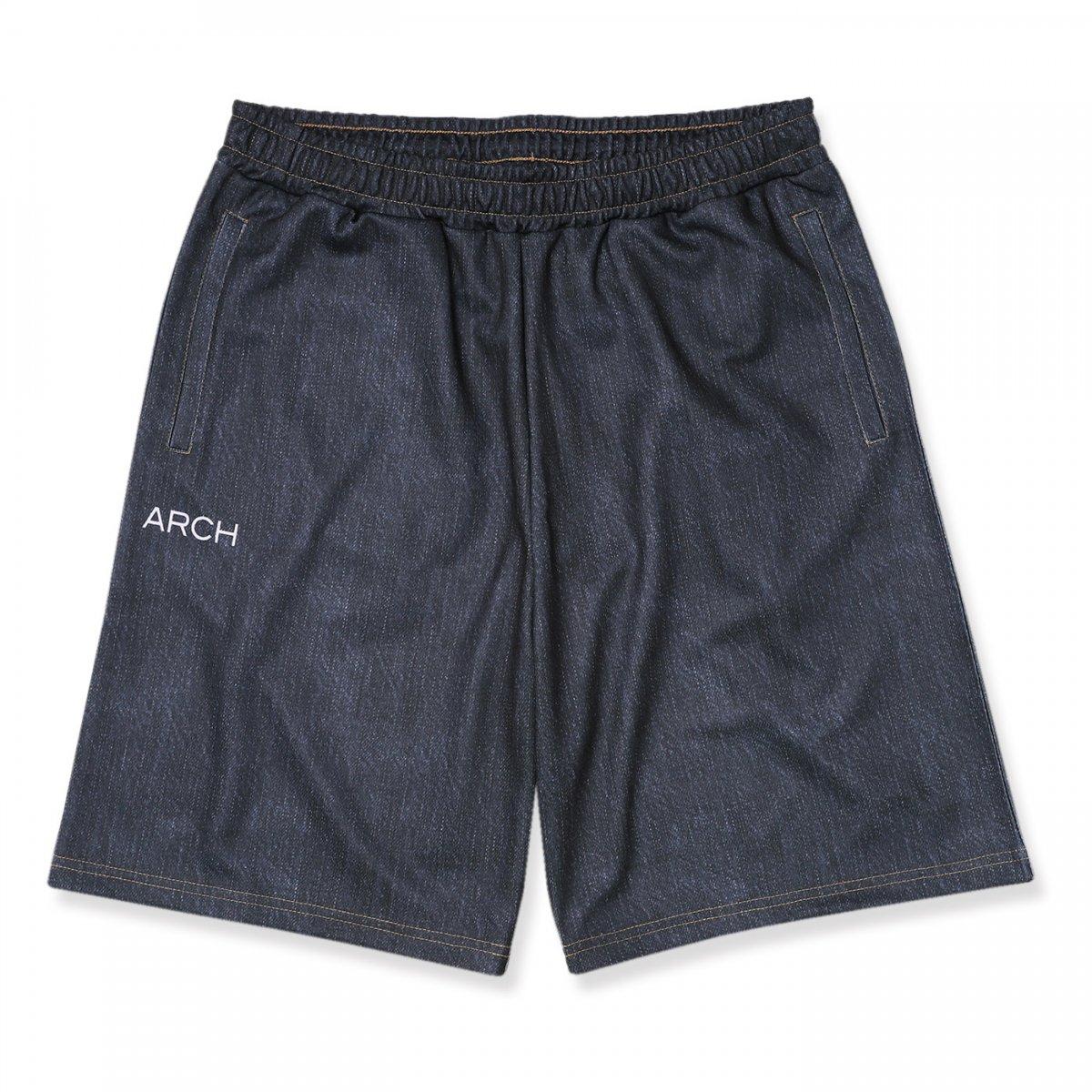 border pocket denim shorts 【black】