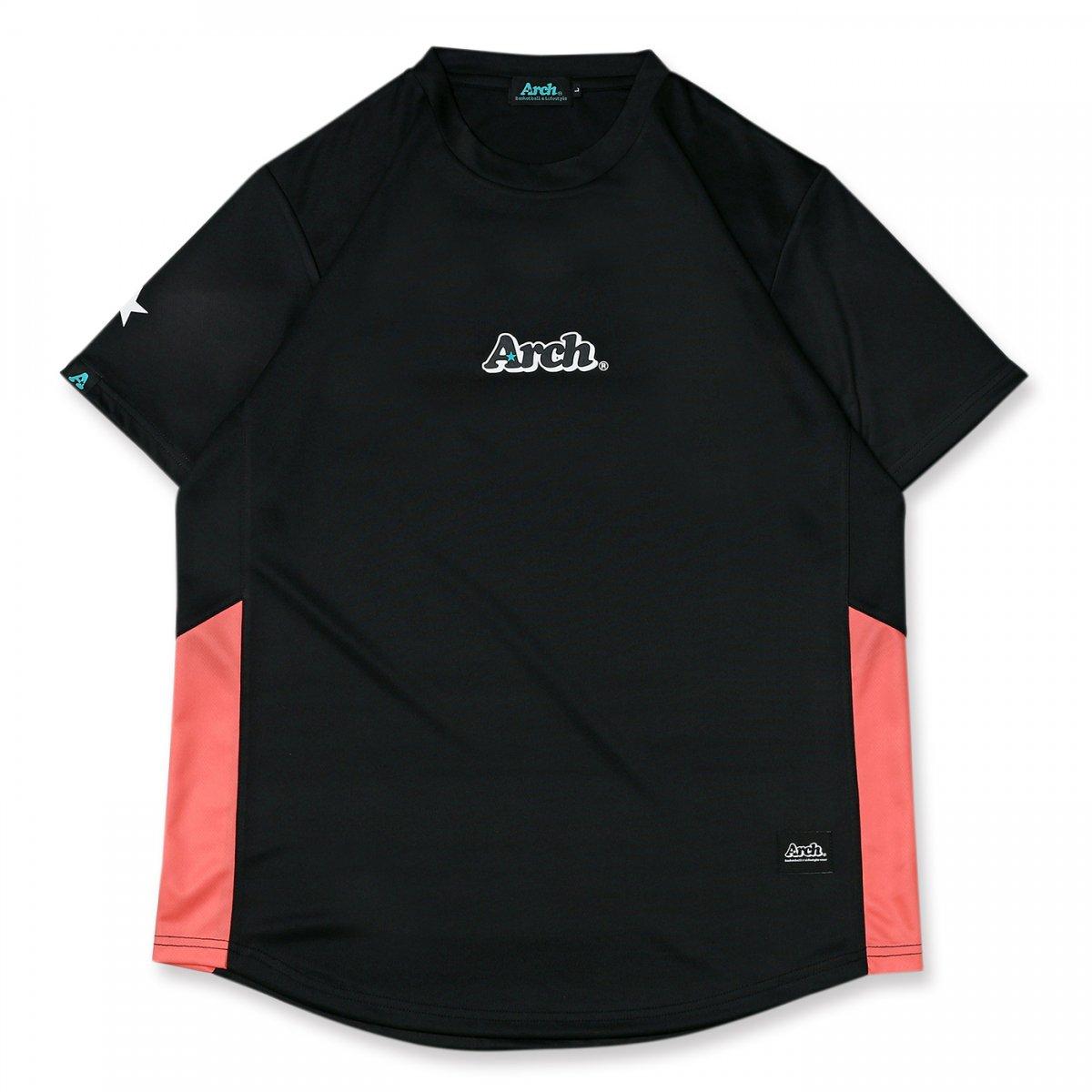 rise paneled tee [DRY]【black/pink】