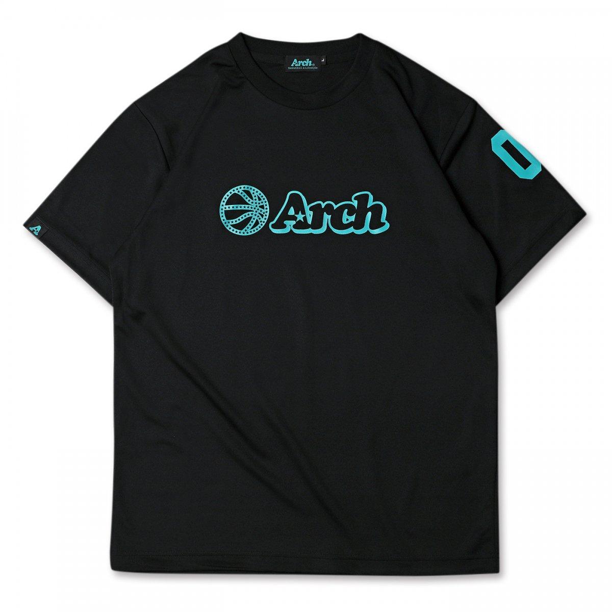 バスケ アーチ ボール ロゴ Tシャツ ブラックターコイズ