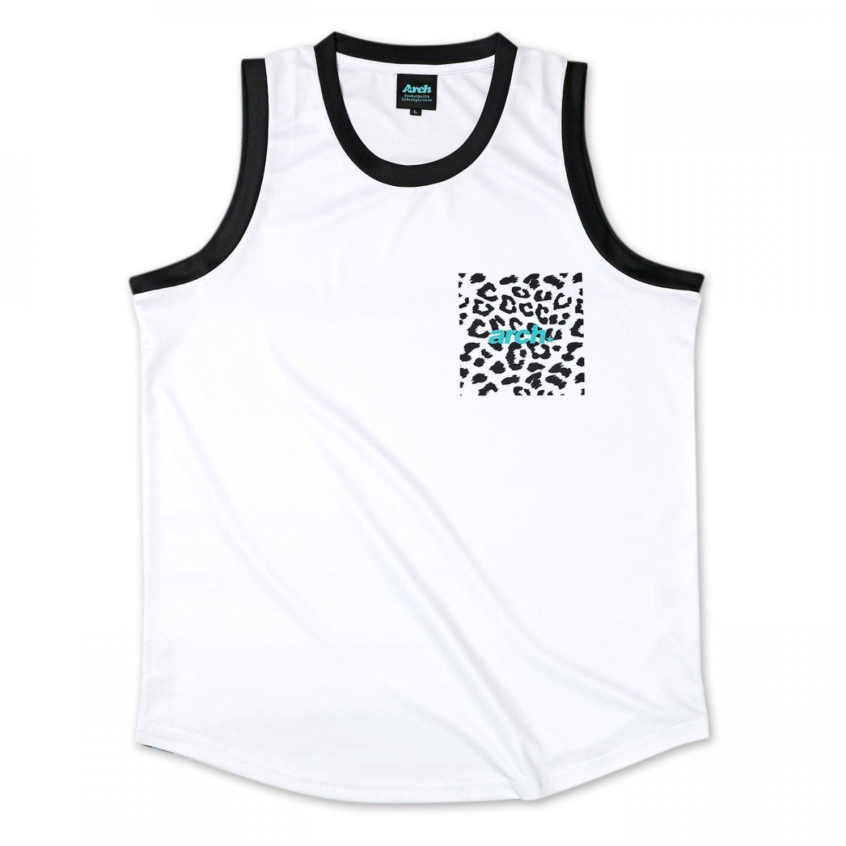 leopard sporty logo tank [DRY]【white】