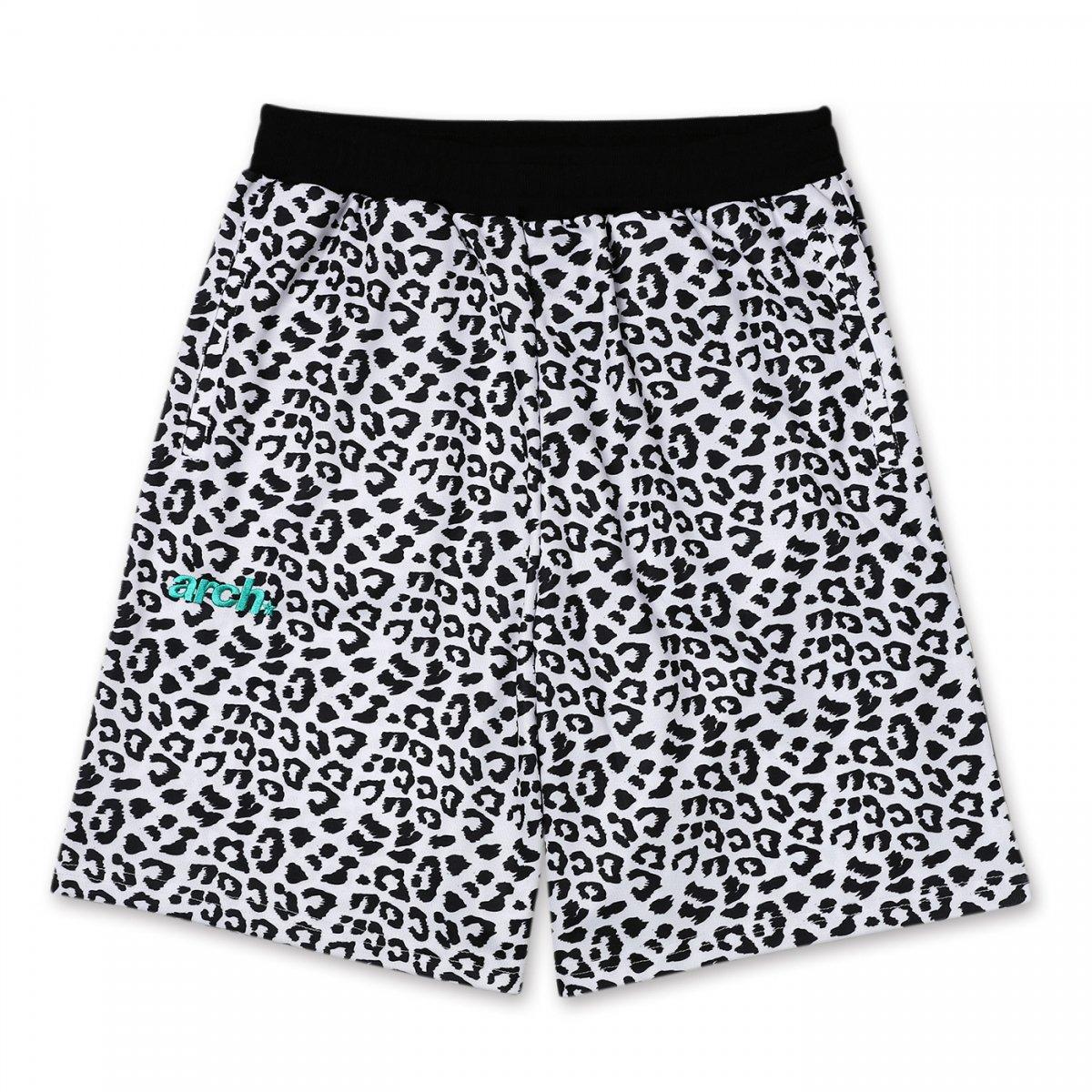 leopard sporty logo shorts 【white/black】