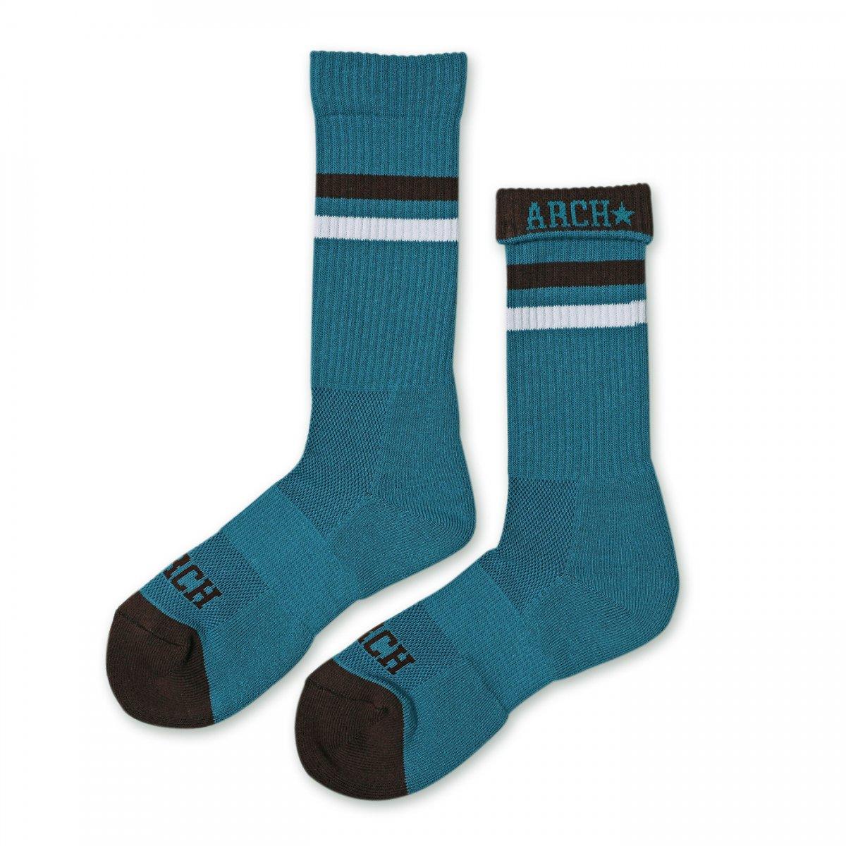 top line crew mid. socks【sax blue/brown】