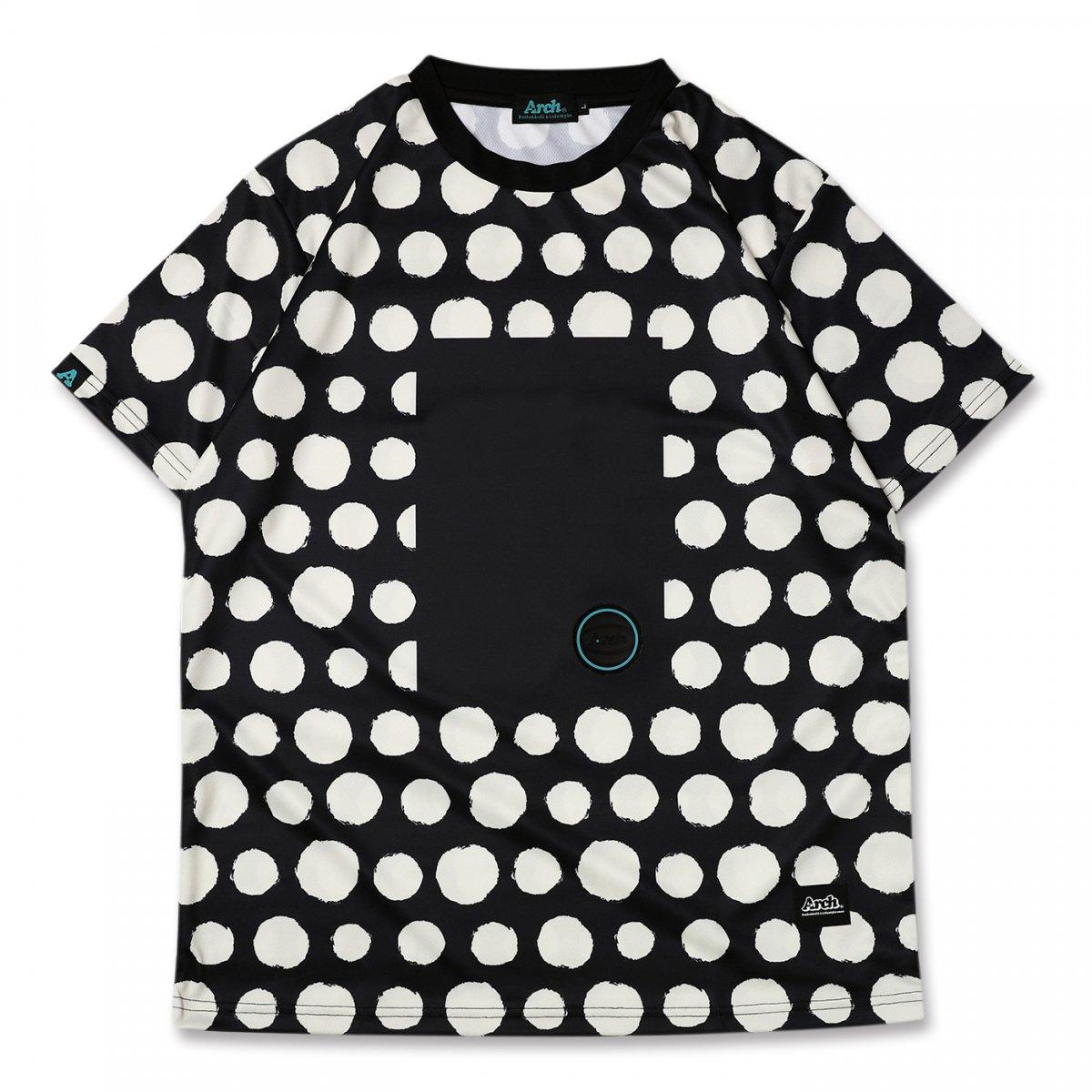 brush dot tee [DRY] 【black/vanilla】