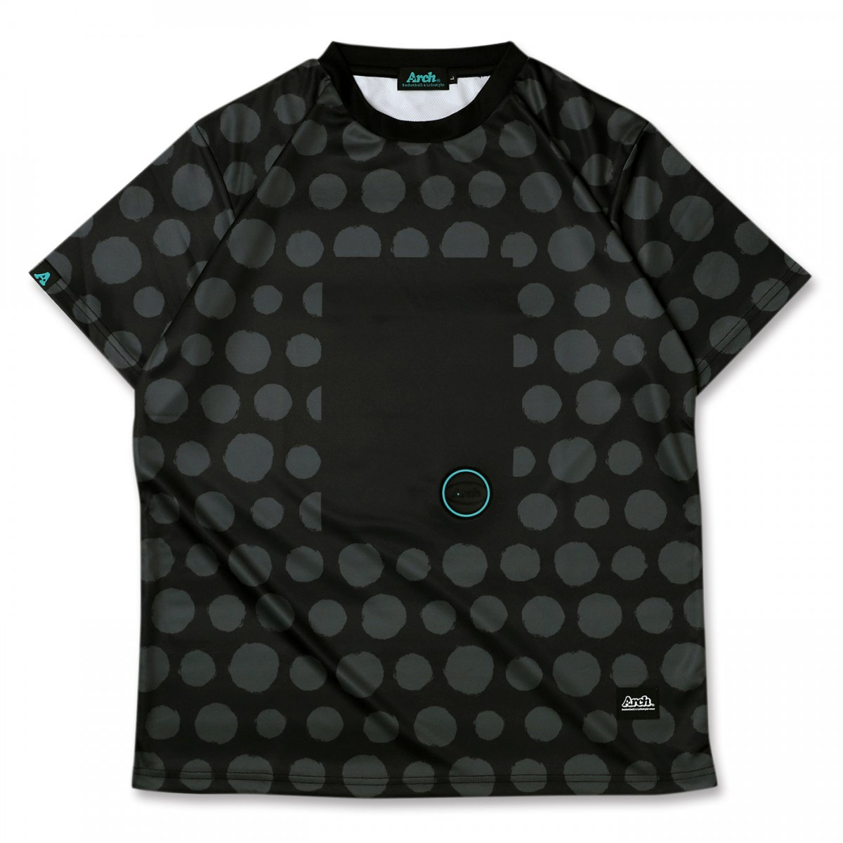 brush dot tee [DRY] 【black/gray】
