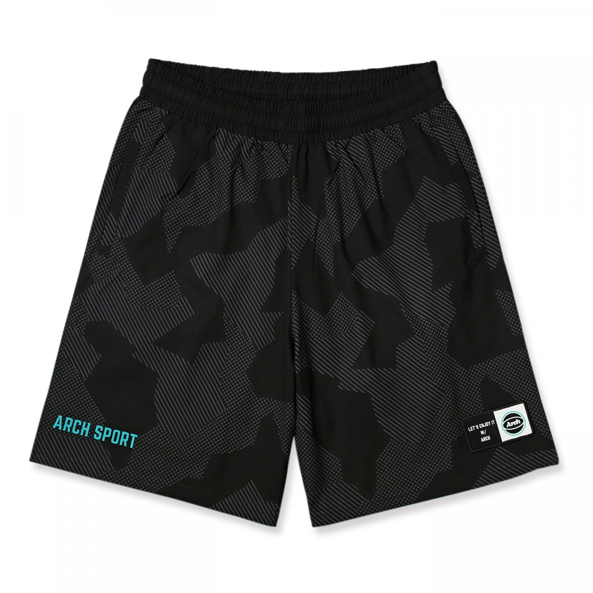 sport patched shorts 【black】