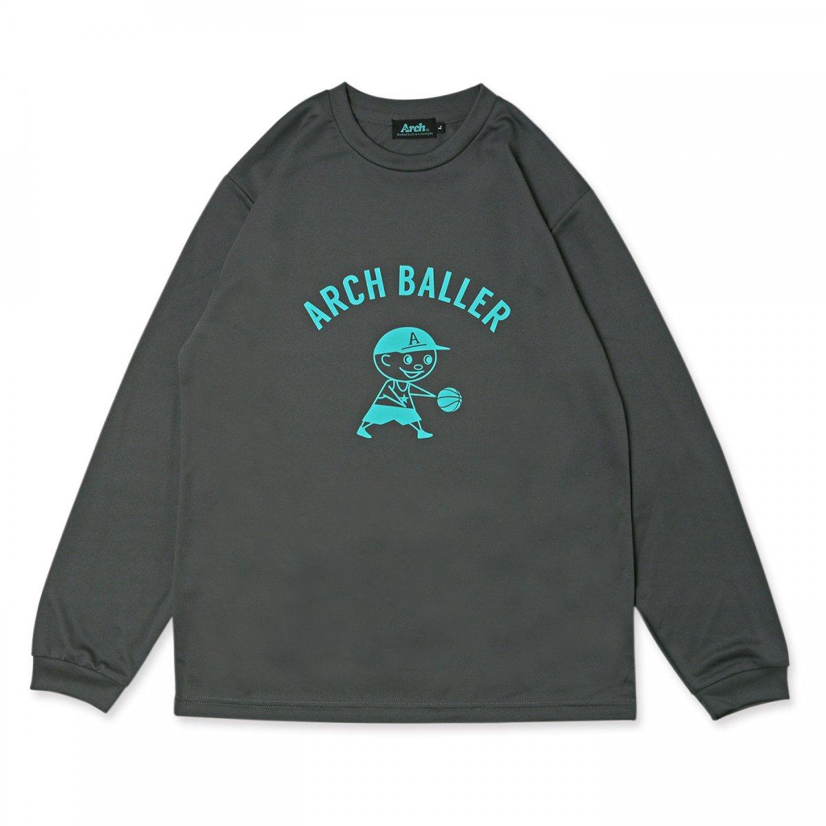pass the ball L/S tee [DRY] 【dark gray】