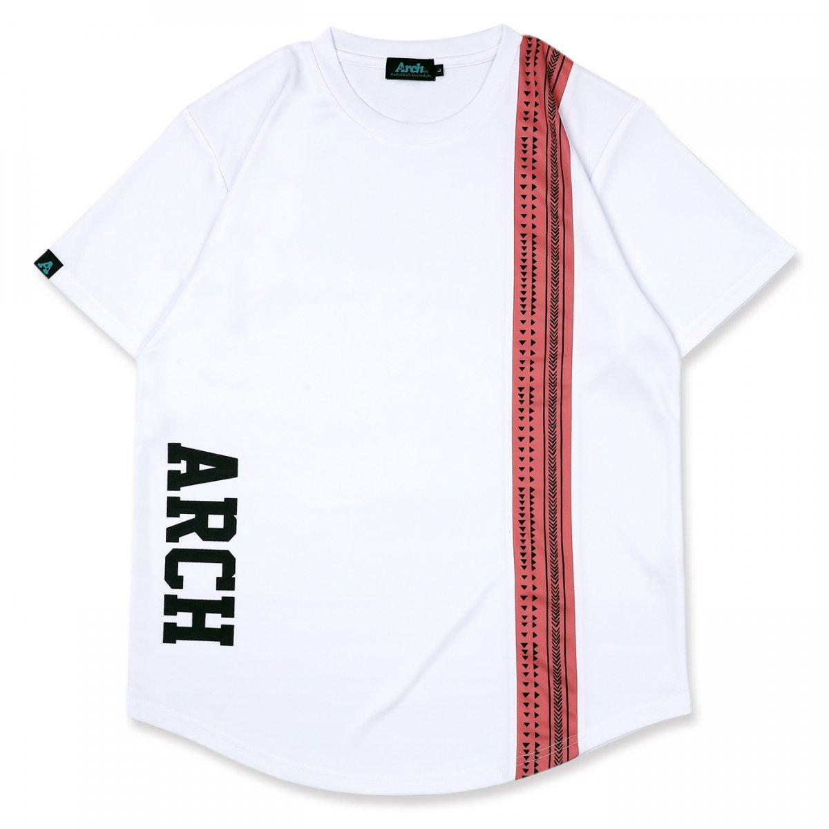 rough stripe tee [DRY]【white/pink】