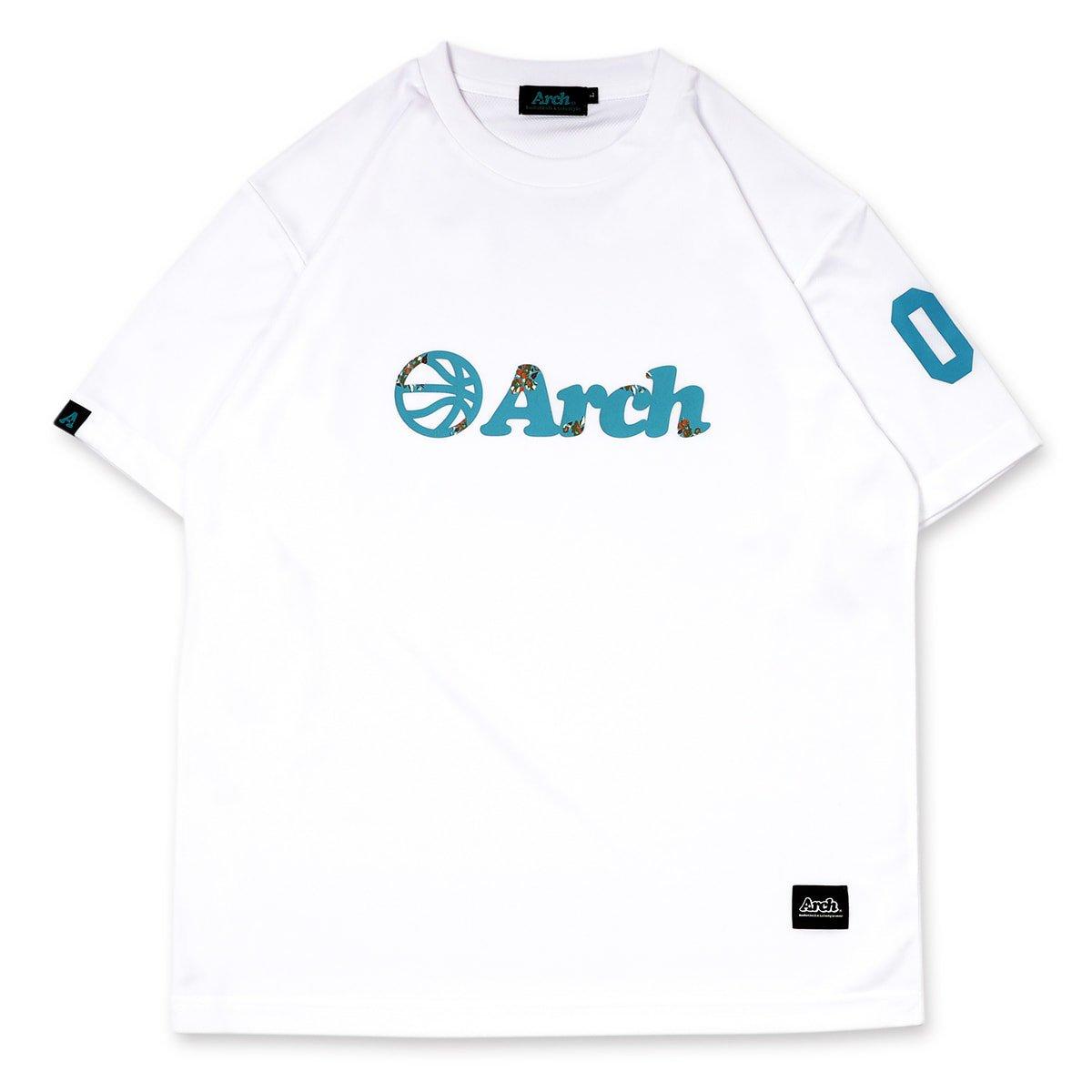 バスケ アーチ フローラルボールロゴ Tシャツ ホワイト/ナイルブルー