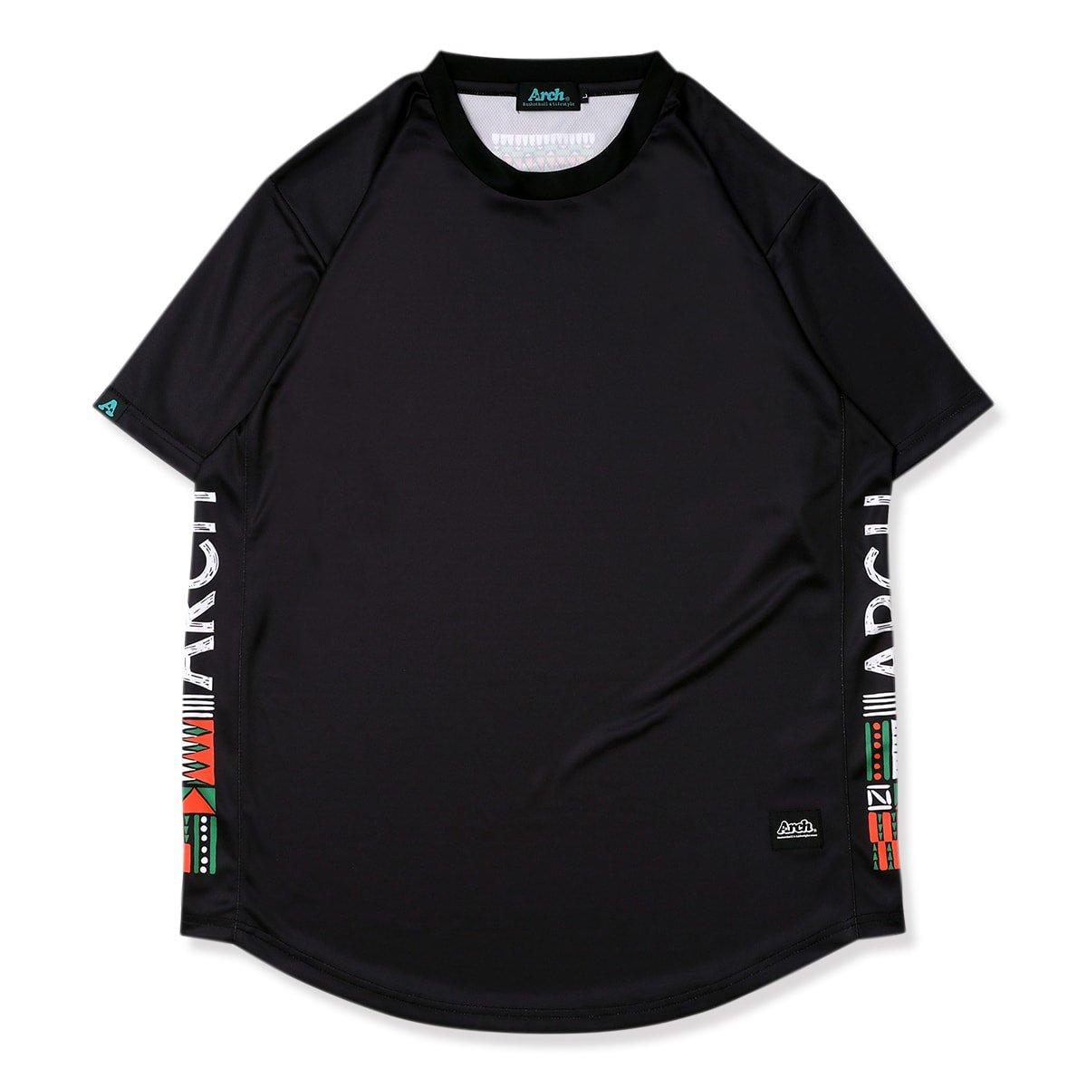 バスケ アーチ トライバルペイント Tシャツ ブラック/オレンジ