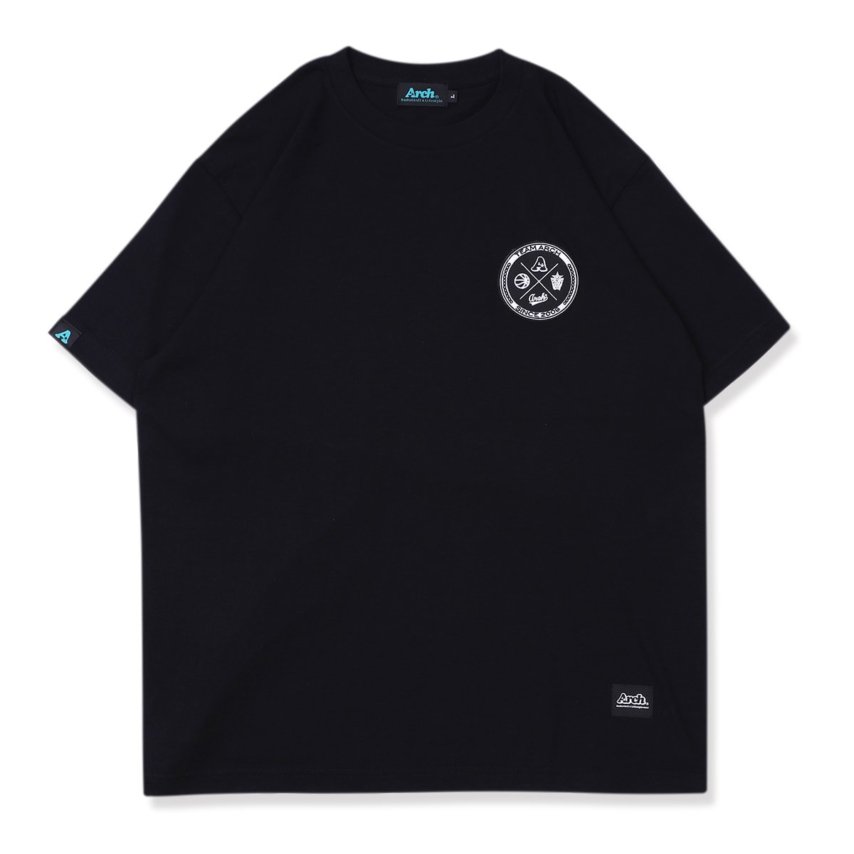 バスケ アーチ チームアーチパッチド Tシャツ ブラック