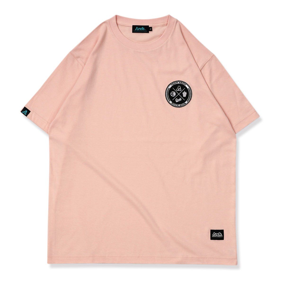team arch patched tee【pink】