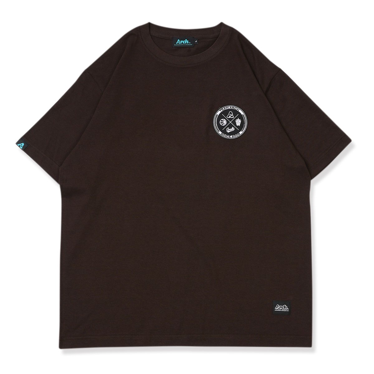 team arch patched tee【brown】