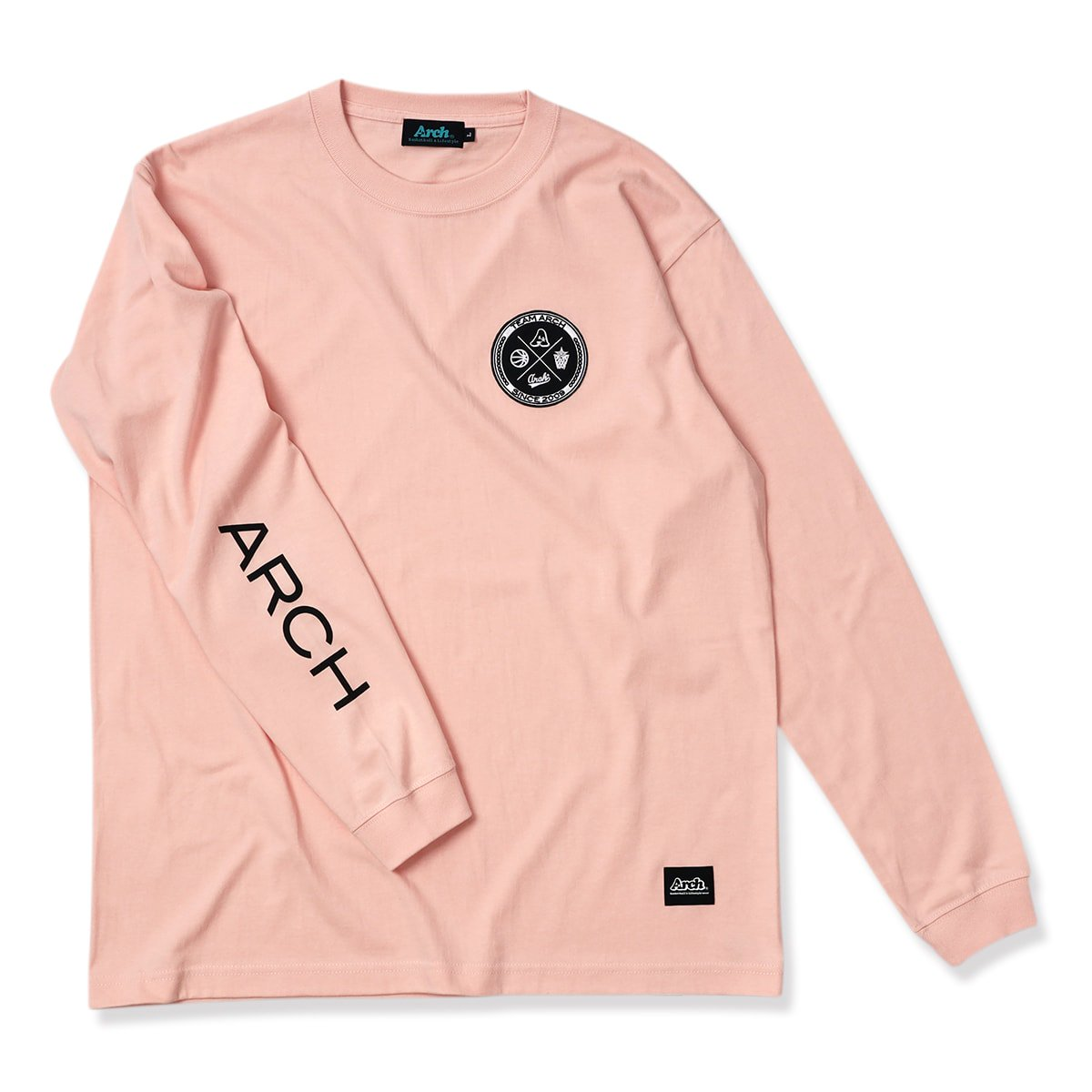 team arch patched L/S tee【pink】