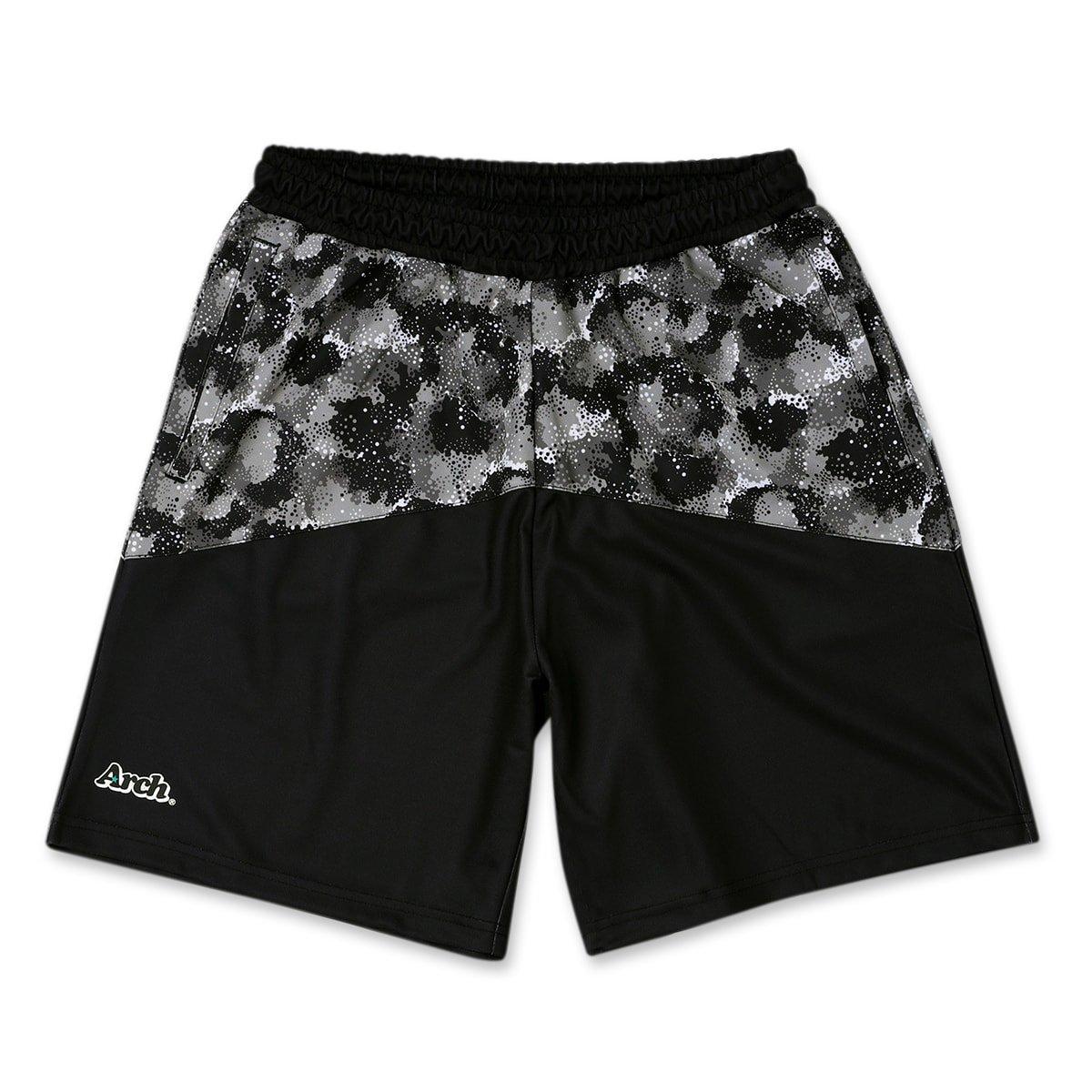 spray camo shorts【black】