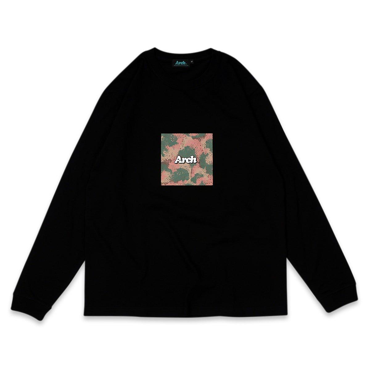 スプレーカモボックスロゴ ロングスリーブT ブラック