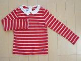 プチバトー petit bateau■4歳 約 100cm ベビー服 長袖 Tシャツ カットソー 赤 ボーダー ★3 (本体価格1280円)