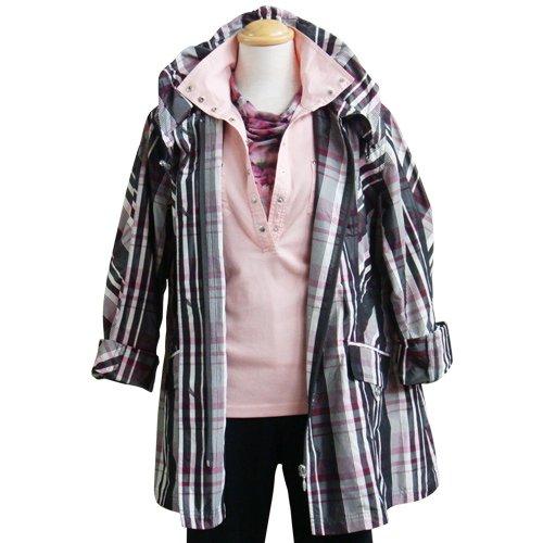 ミセスチェックジャケット(アイボリー×チャコールグレー×ピンク/L)
