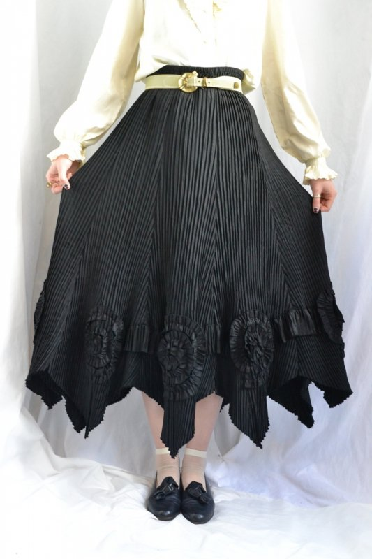 vintage accordion pleats flower corsage skirt