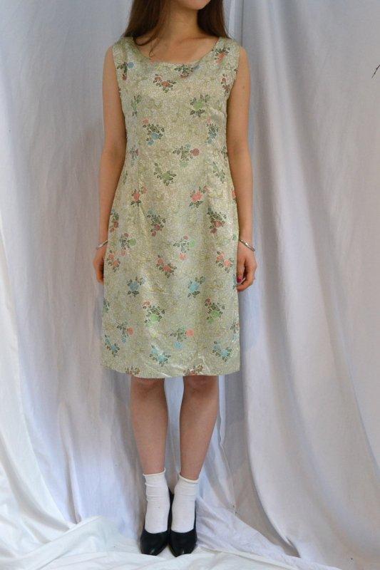 1950's vintage tight silhouette Jacquard fabric dress