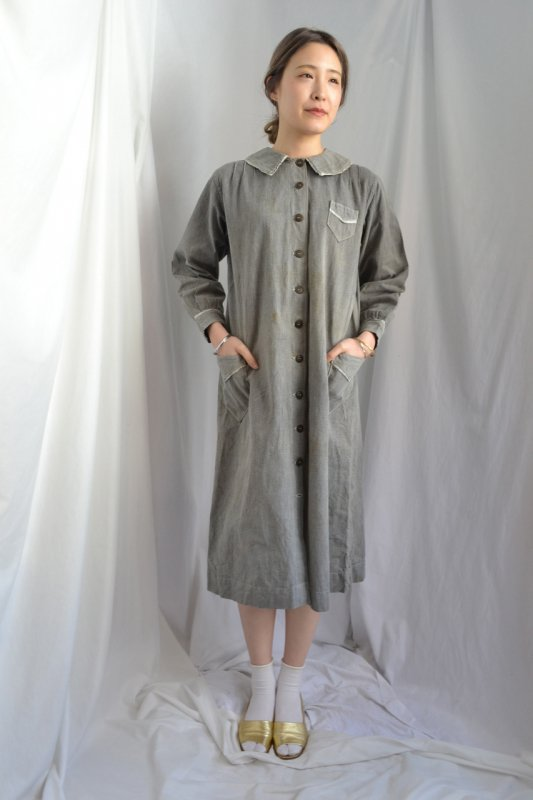 1930's France vintage cotton chambray dress coat