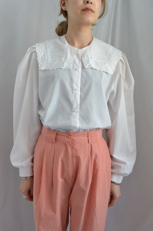 vintage cutwork lace sailor collar blouse