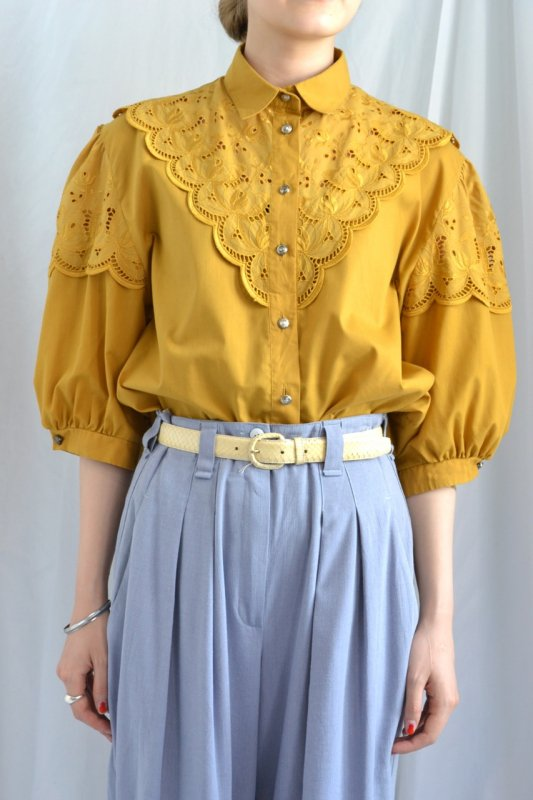 vintage mustard yellow scallop lace blouse
