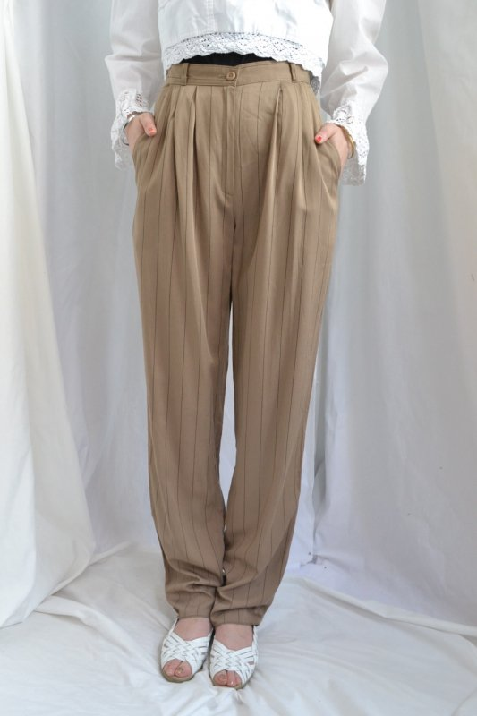 Vintage blown color stripe tuck pants