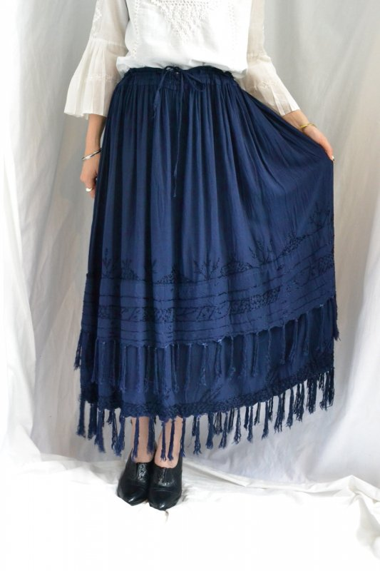 Vintage fringe design gather skirt