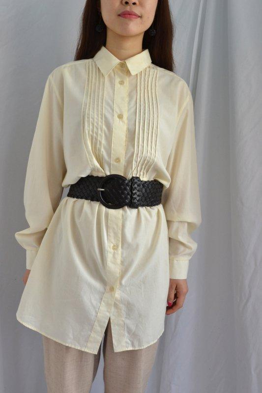Ivory pin tuck design vintage long shirt