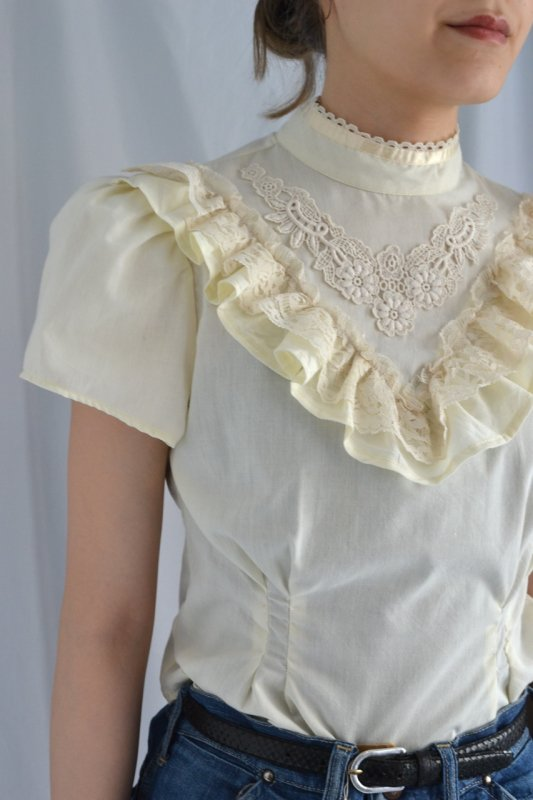 vintage stand collar frill lace blouse